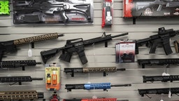 """California-compliant AR-15 upper receivers, rifles, and gun accessories for sale at Hiram's Guns / Firearms Unknown store in El Cajon, California, U.S., on Monday, April 26, 2021. President Joe Biden's planned executive actions would crack down on """"ghost guns,"""" which can be assembled from kits and are not traceable by law enforcement because they lack serial numbers, as well as braces for pistols that make firearms more stable and accurate."""
