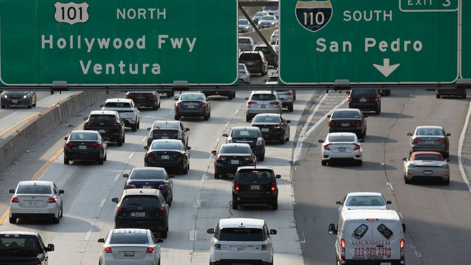 LOS ANGELES, CA - JUNE 16: Afternoon traffic crawls along the 101 freeway through downtown Los Angeles on Wednesday, June 16, 2021.