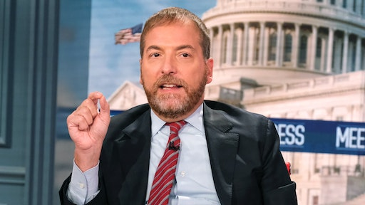 """MEET THE PRESS -- Pictured: (l-r) -- Moderator Chuck Todd appears on Meet the Press"""" in Washington, D.C., Sunday, August 22, 2021."""