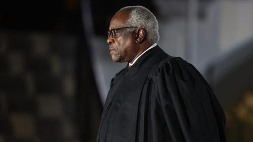 Supreme Court Associate Justice Clarence Thomas attends the ceremonial swearing-in ceremony for Amy Coney Barrett to be the U.S. Supreme Court Associate Justice on the South Lawn of the White House October 26, 2020 in Washington, DC.