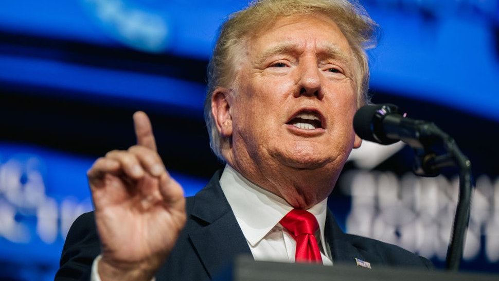 PHOENIX, ARIZONA - JULY 24: Former U.S. President Donald Trump speaks during the Rally To Protect Our Elections conference on July 24, 2021 in Phoenix, Arizona. The Phoenix-based political organization Turning Point Action hosted former President Donald Trump alongside GOP Arizona candidates who have begun candidacy for government elected roles. (Photo by Brandon Bell/Getty Images)