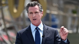 California Governor Gavin Newsom attends California Governor Gavin Newsom's press conference for the official reopening of the state of California at Universal Studios Hollywood on June 15, 2021 in Universal City, California.