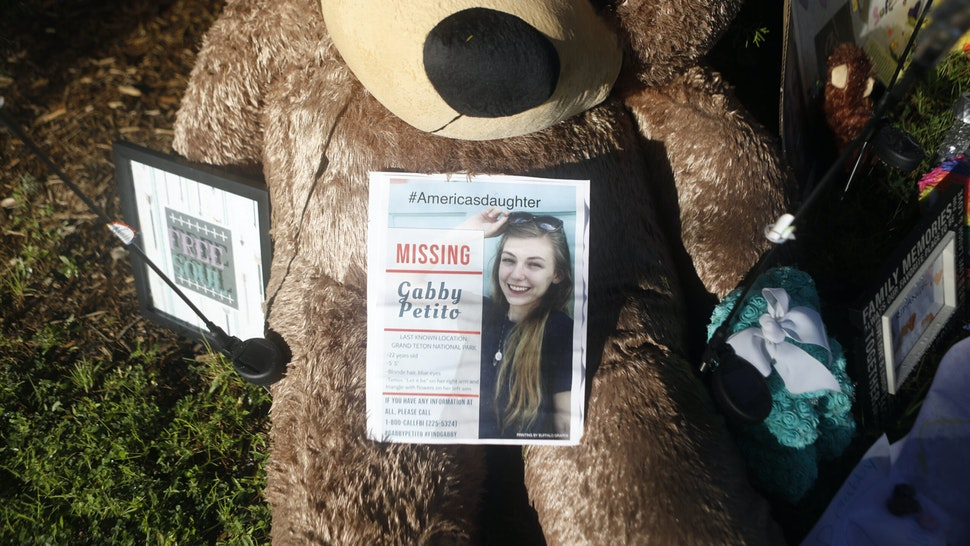 NORTH PORT, FL - SEPTEMBER 20: A makeshift memorial dedicated to missing woman Gabby Petito is located near the North Port City Hall on September 20, 2021 in North Port, Florida. A body has been found by authorities in Wyoming who believe it fits the description of Gabby Petito who went missing while on a cross country trip with her boyfriend Brian Laundrie.