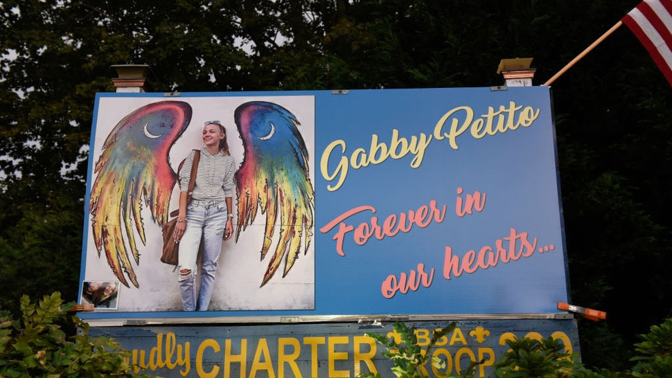 BLUE POINT, NY - SEPTEMBER 24: A sign honors the death of Gabby Petito on September 24, 2021 in Blue Point, New York. Gabby Petito's hometown of Blue Point put out candles along main streets and in driveways to honor the teenager who has riveted the nation since the details of her death became known. (Photo by Stephanie Keith/Getty Images)
