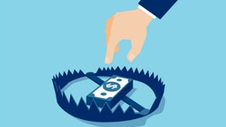 Vector of a businessman hand trying to reach money trap with dollar banknotes