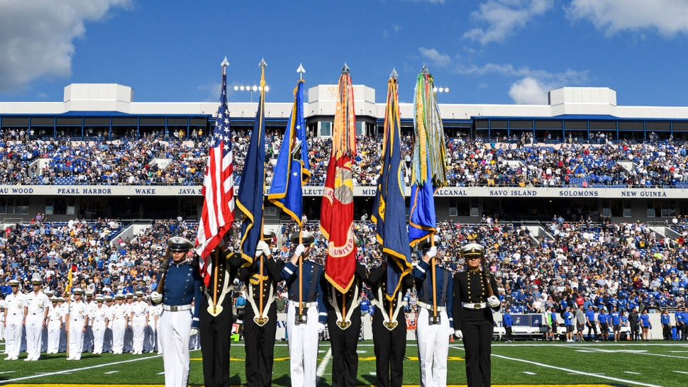 ANNAPOLIS, MD - OCTOBER 5: The Naval Academy color guard takes the field on October 5, 2019, at Navy - Marine Corps Memorial Stadium in Annapolis, MD. for the game between the Air Force Falcons and the Navy Midshipmen. (Photo by Mark Goldman/Icon Sportswire via Getty Images)