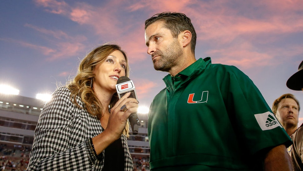 TALLAHASSEE, FL - NOVEMBER 2: ESPN Sideline Reporter Allison Williams interviews Head Coach Manny Diaz of the Miami Hurricanes after the game against the Florida State Seminoles at Doak Campbell Stadium on Bobby Bowden Field on November 2, 2019 in Tallahassee, Florida. Miami defeated Florida State 27 to 10. (Photo by Don Juan Moore/Getty Images)