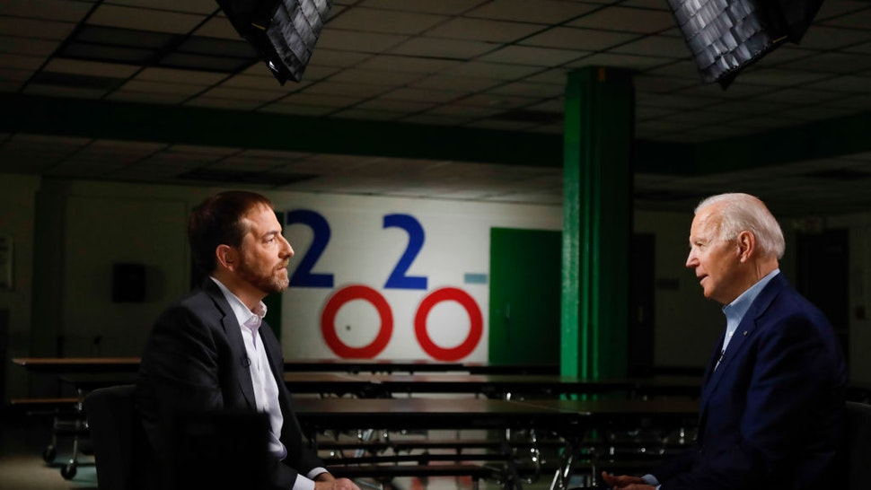 """Moderator Chuck Todd and FMR VP. Joe Biden (D) appear in a pre-taped interview on ?Meet the Press"""" at O Knudson Middle School in Las Vegas, NV on Saturday, Feb. 15, 2020"""