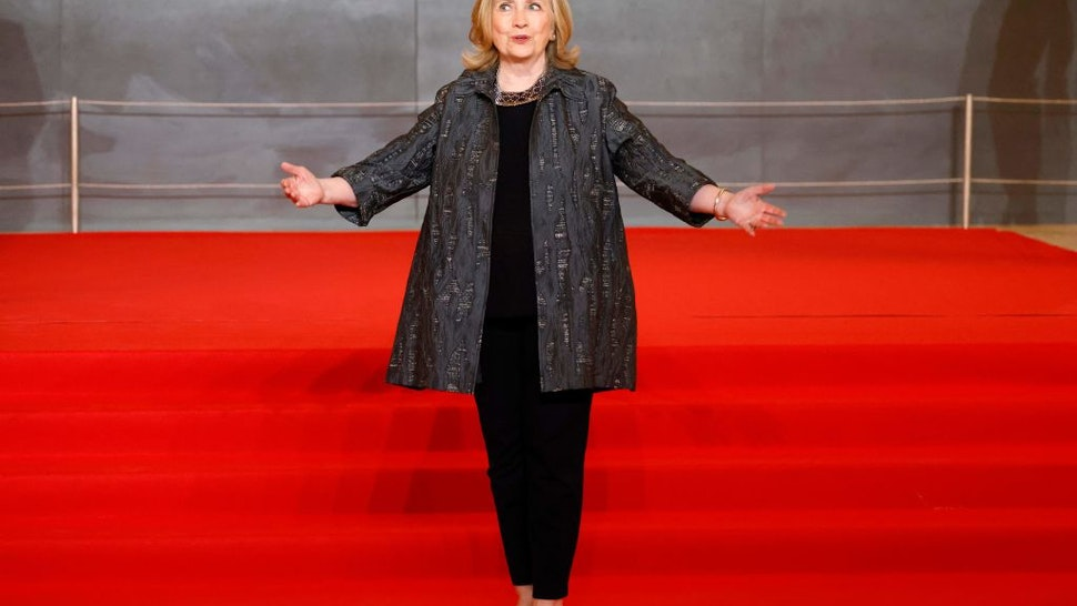 Former US Secretary of State Hillary Clinton arrives to the opening session of the Generation Equality Forum, a global gathering for gender equality convened by UN Women and co-hosted by the governments of Mexico and France in partnership with youth and civil society, in Paris on June 30, 2021.