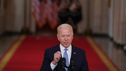 U.S. President Joe Biden speaks at the White House in Washington, D.C., U.S., on Tuesday, Aug. 31, 2021. The departure of the last U.S. military plane from Afghanistan left the region facing uncertainty, with the Taliban seeking to cement control of a nation shattered by two decades of war and an economy long dependent on foreign aid and opium sales. Photographer: Stefani Reynolds/Bloomberg via Getty Images