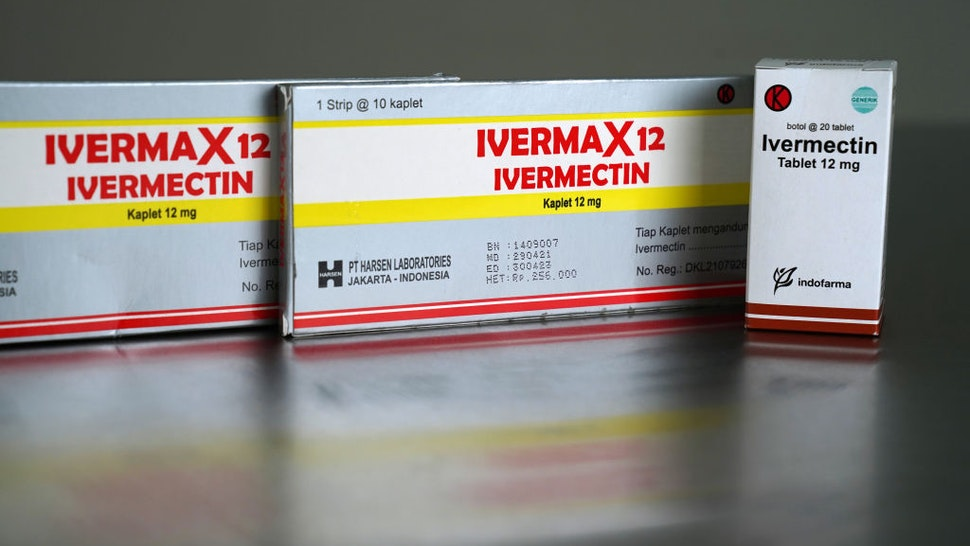 Boxes of ivermectin arranged in Jakarta, Indonesia, on Thursday, Sept. 2, 2021. The U.S. Food and Drug Administration warnedAmericans against takingivermectin, a drug usually used on animals, as a treatment or prevention for Covid-19.