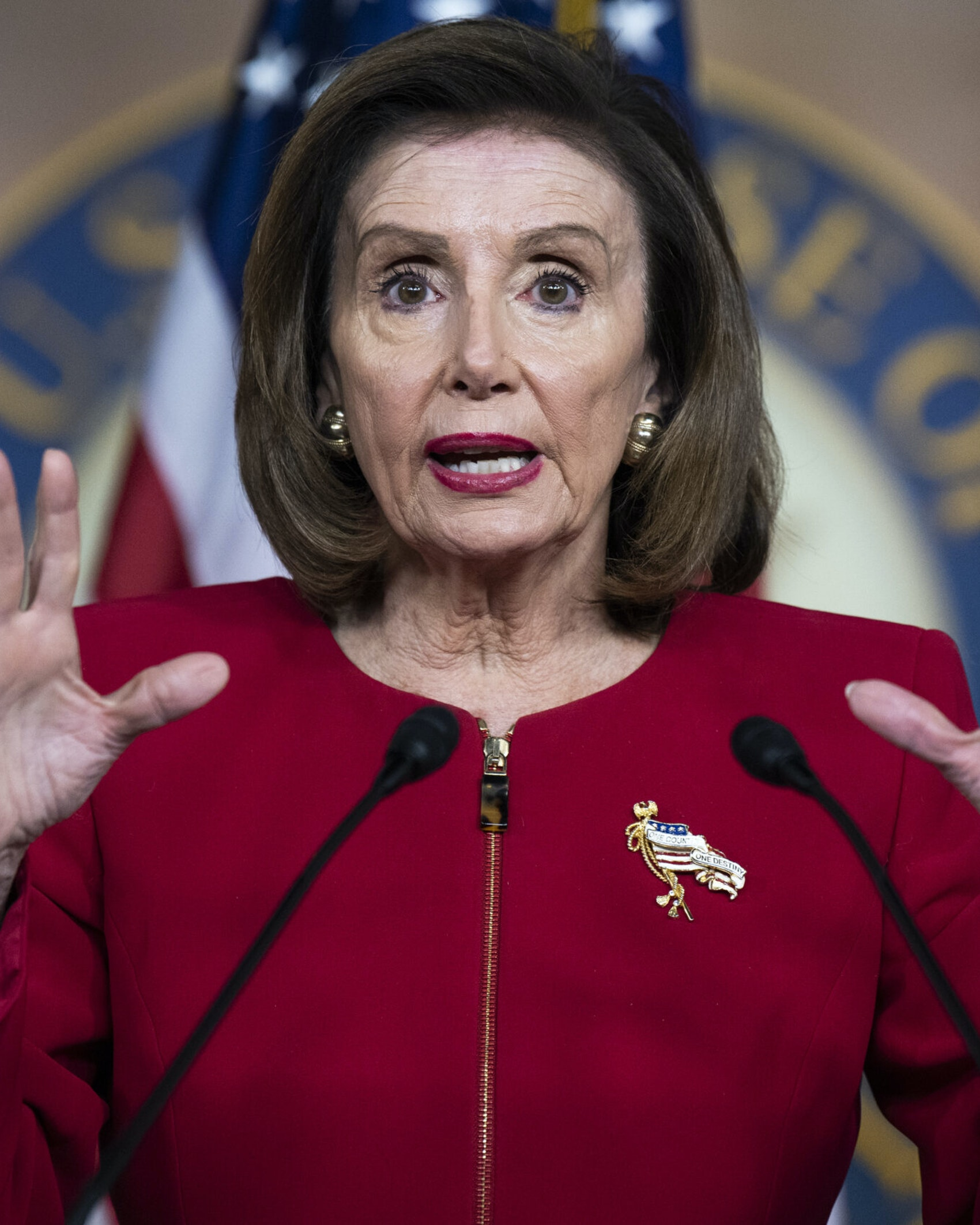 UNITED STATES - SEPTEMBER 8: Speaker of the House Nancy Pelosi, D-Calif., conducts her weekly news conference in the Capitol Visitor Center on Wednesday, September 8, 2021. (Photo By Tom Williams/CQ-Roll Call, Inc via Getty Images)
