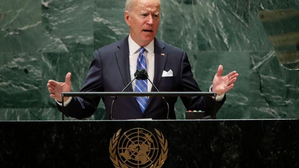 NEW YORK, NEW YORK - SEPTEMBER 21: U.S. President Joe Biden addresses the 76th Session of the U.N. General Assembly on September 21, 2021 at U.N. headquarters in New York City. More than 100 heads of state or government are attending the session in person, although the size of delegations is smaller due to the Covid-19 pandemic.
