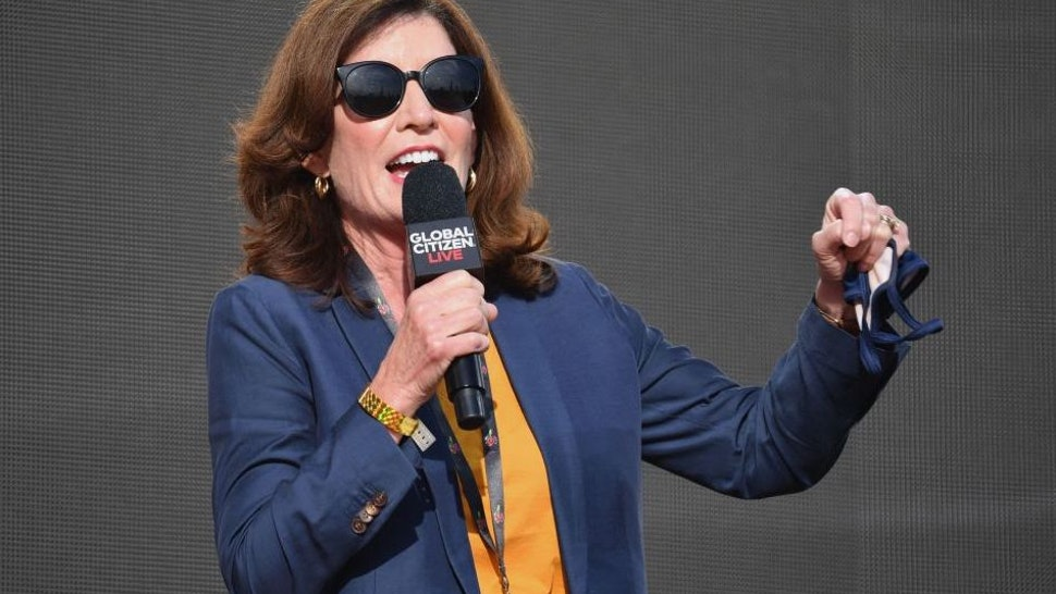 New York Governor Kathy Hochul speaks during the 2021 Global Citizen Live festival at the Great Lawn, Central Park on September 25, 2021 in New York City.