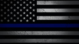 An American flag symbolic of support for law enforcement - stock photo