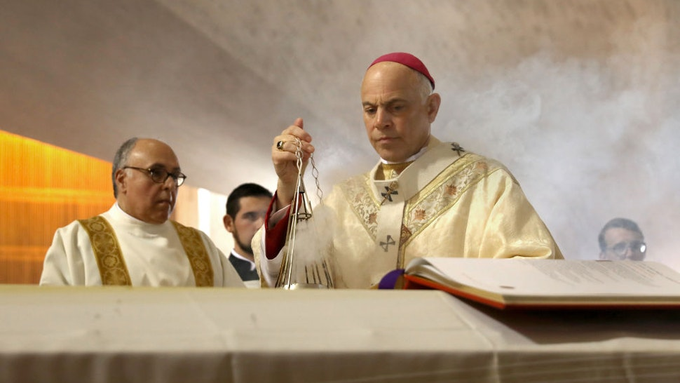Archbishop of San Francisco, the Most Reverend Salvatore J. Cordileone leads the prayer of commendation during the funeral Mass of archbishop emeritus and Cardinal William Joseph Cardinal Levada at the Cathedral of Saint Mary on Thursday, Oct. 24, 2019, in San Francisco, Calif. (Photo By Liz Hafalia/The San Francisco Chronicle via Getty Images)