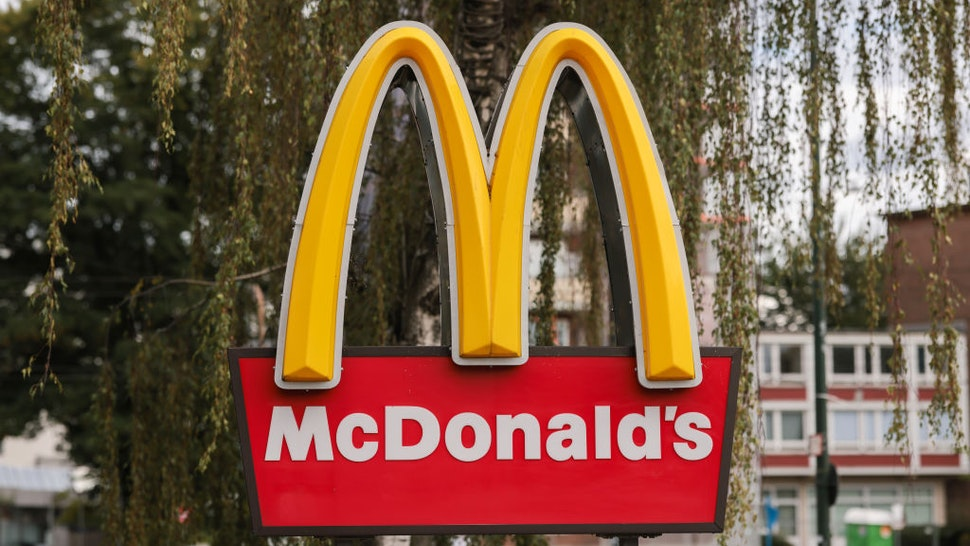 McDonalds logo photographed on August 07, 2021 in Dusseldorf, Germany.