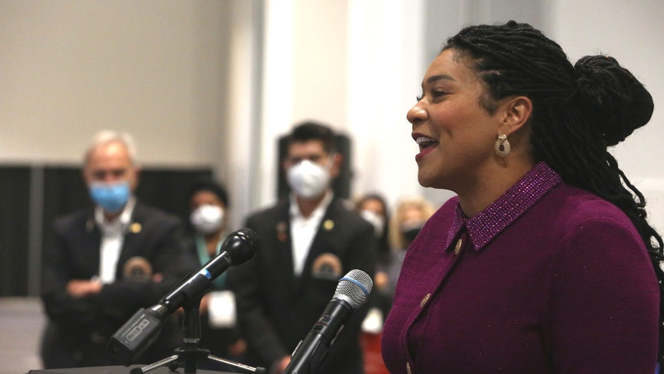 Mayor London Breed speaks to attendees at the start of the California Dental Association convention at Moscone South on Thursday, September 9, 2021 in San Francisco, Calif.