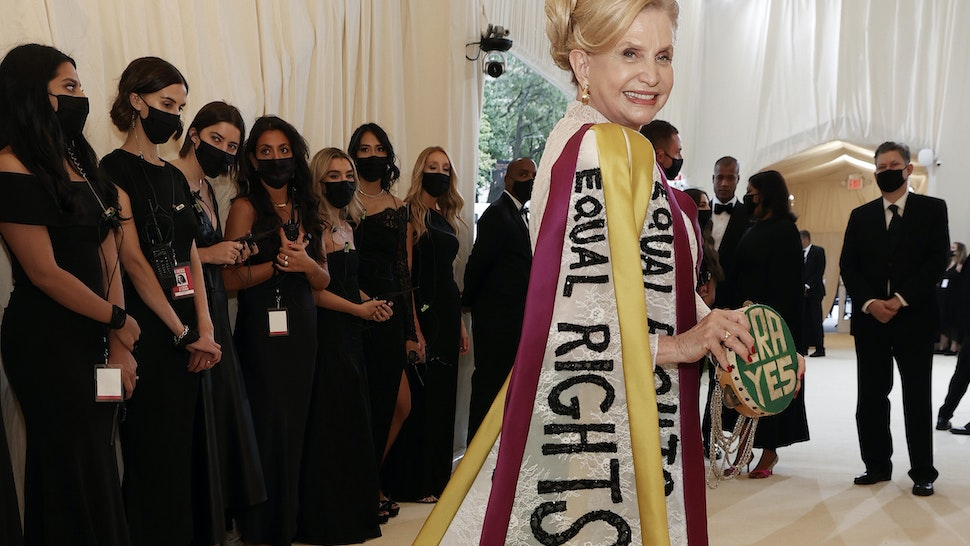 NEW YORK, NEW YORK - SEPTEMBER 13: The Honorable Carolyn B. Maloney attends The 2021 Met Gala Celebrating In America: A Lexicon Of Fashion at Metropolitan Museum of Art on September 13, 2021 in New York City. (Photo by Arturo Holmes/MG21/Getty Images)