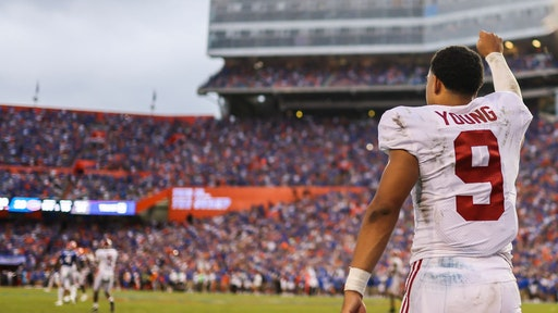 GAINESVILLE, FLORIDA - SEPTEMBER 18: Bryce Young #9 of the Alabama Crimson Tide celebrates after defeating the Florida Gators 31-29 at Ben Hill Griffin Stadium on September 18, 2021 in Gainesville, Florida. (Photo by James Gilbert/Getty Images)