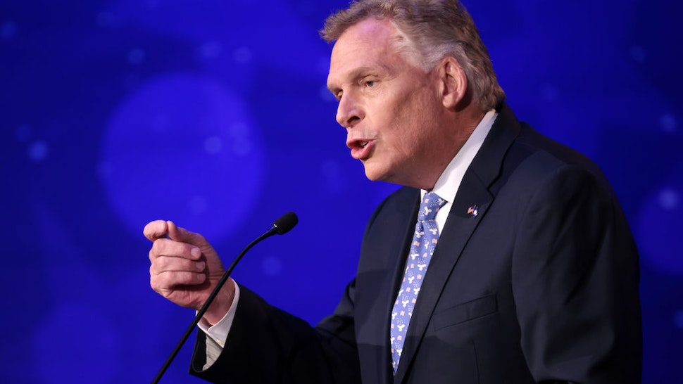 Former Virginia Gov. Terry McAuliffe (D-VA) answers a question in a debate with Republican gubernatorial candidate Glenn Youngkin hosted by the Northern Virginia Chamber of Commerce September 28, 2021 in Alexandria, Virginia. The gubernatorial election is November 2.