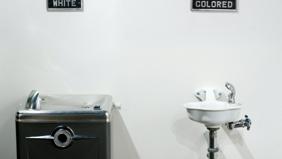 Segregated water fountains - stock photo