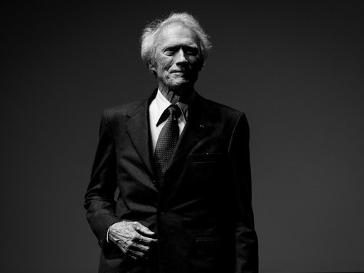 CANNES, FRANCE - MAY 20: (EDITORS NOTE: Image has been converted to black and white.) Clint Eastwood is seen on stage during the 'Unforgiven' restored copy presentation during the 70th annual Cannes Film Festival at Salle Debussy on May 20, 2017 in Cannes, France. (Photo by Matthias Nareyek/French Select)