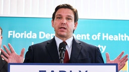 VIERA, FLORIDA, UNITED STATES - 2021/09/01: Florida Governor Ron DeSantis holds a news conference at the Florida Department of Health office in Viera, Florida to announce that the state of Florida has provided more than 40,000 monoclonal antibody treatments to COVID-19 patients statewide at 21 state treatment sites. Last week Florida reported 1,727 COVID-19 deaths in its weekly report, the most on record.
