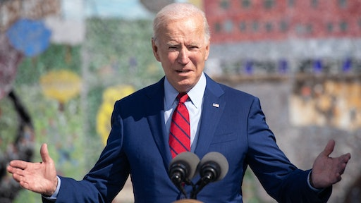 US President Joe Biden speaks about coronavirus protections in schools during a visit to Brookland Middle School in Washington, DC, September 10, 2021.