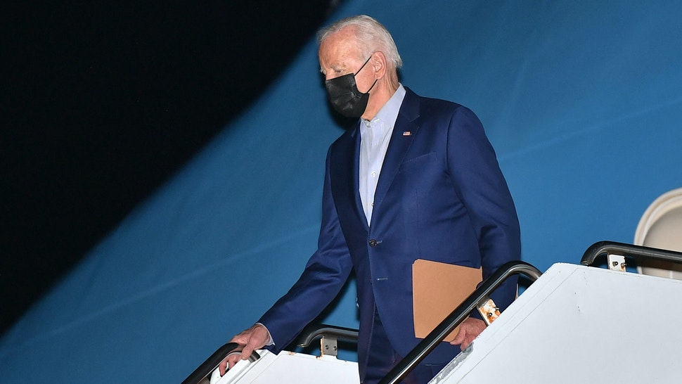 US President Joe Biden steps off Air Force One upon arrival at Philadelphia International Airport in Philadelphia, Pennsylvania on September 3, 2021. - Biden is heading to Wilmington, Delaware to spend the weekend at his residence.