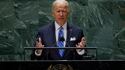 US President Joe Biden addresses the 76th Session of the UN General Assembly on September 21, 2021 in New York. (Photo by EDUARDO MUNOZ / POOL / AFP) (Photo by EDUARDO MUNOZ/POOL/AFP via Getty Images)