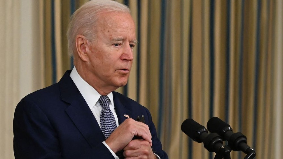 US President Joe Biden delivers remarks on the August jobs report in the State Dining Room at the White House in Washington, DC on September 3, 2021. - The United States gained only 235,000 jobs last month, according to government data released, a total far below expectations that may indicate the Delta variant is harming the US economic recovery. (Photo by Jim WATSON / AFP) (Photo by JIM WATSON/AFP via Getty Images)