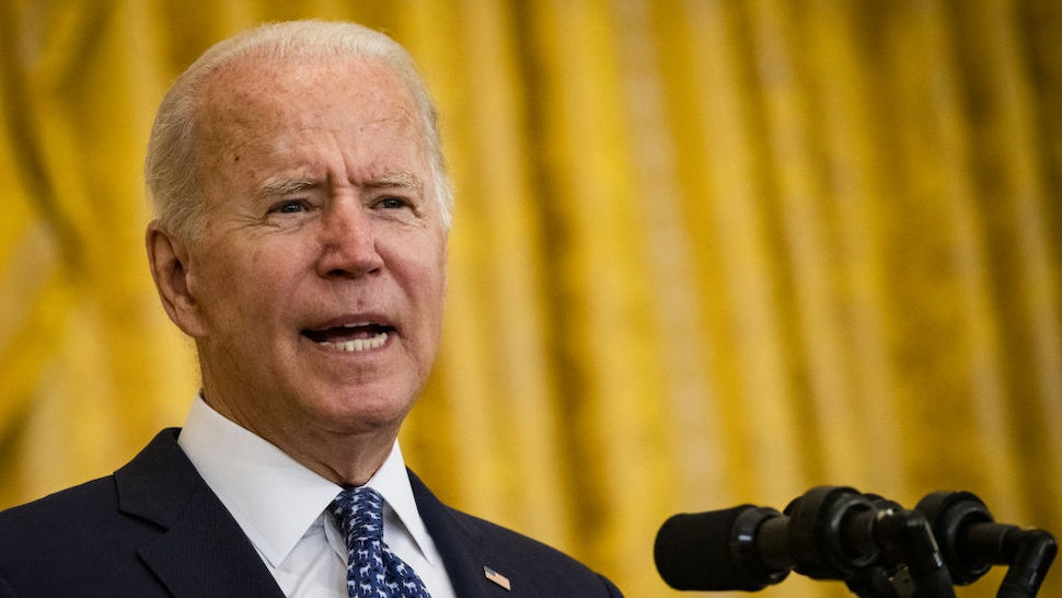 U.S. President Joe Biden speaks in the East Room of the White House in Washington, D.C., U.S., on Wednesday, Sept. 8, 2021. Biden yesterday warned that storm-ravaged New York and New Jersey are signs of worsening climate change, redoubling his push for a $550 billion public works bill that he said would help build more resilient communities. Photographer: Samuel Corum/Bloomberg