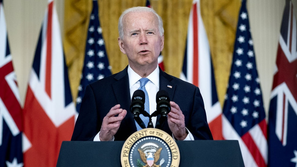 U.S. President Joe Biden speaks in the East Room of the White House in Washington, D.C., U.S., on Wednesday, Sept. 15, 2021. Australia is joining a new Indo-Pacific security partnership with the U.S. and U.K. that could pave the way for it to acquire nuclear-powered submarines, likely signaling the end of its deal with France to buy conventional craft. Photographer: Stefani Reynolds/Bloomberg