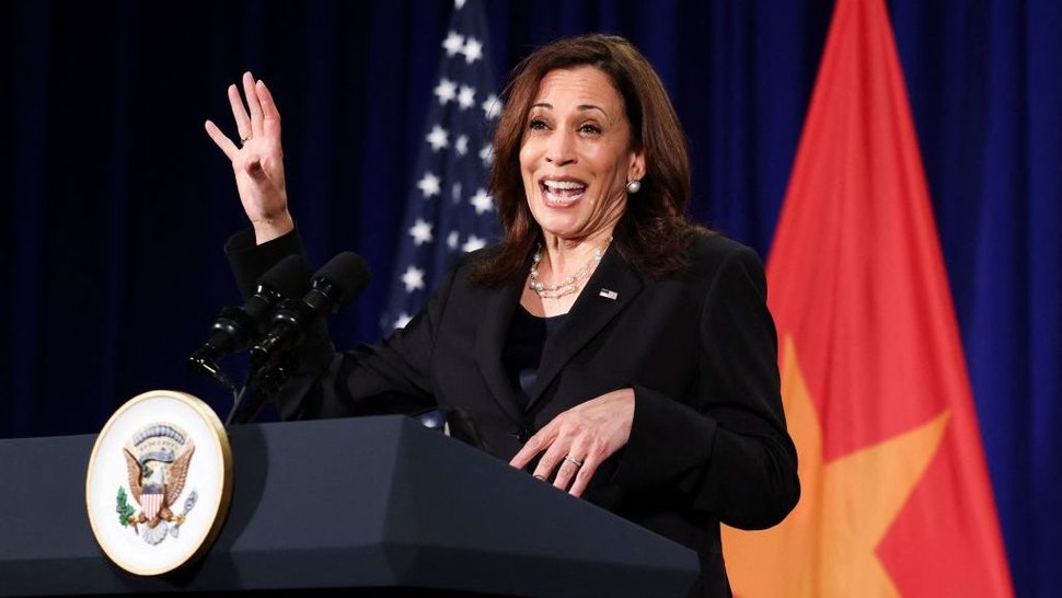 US Vice President Kamala Harris holds a press conference before departing Vietnam for the United States, following her first official visit to Asia, in Hanoi on August 26, 2021. (Photo by EVELYN HOCKSTEIN / POOL / AFP) (Photo by EVELYN HOCKSTEIN/POOL/AFP via Getty Images)