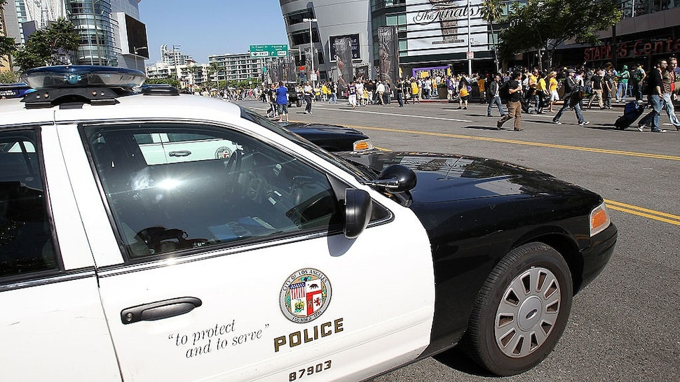 LOS ANGELES, CA - JUNE 17: Members of the Los Angeles Police Department patrol outside Staples Center before Game Seven of the 2010 NBA Finals between the Boston Celtics and the Los Angeles Lakers on June 17, 2010 in Los Angeles, California.