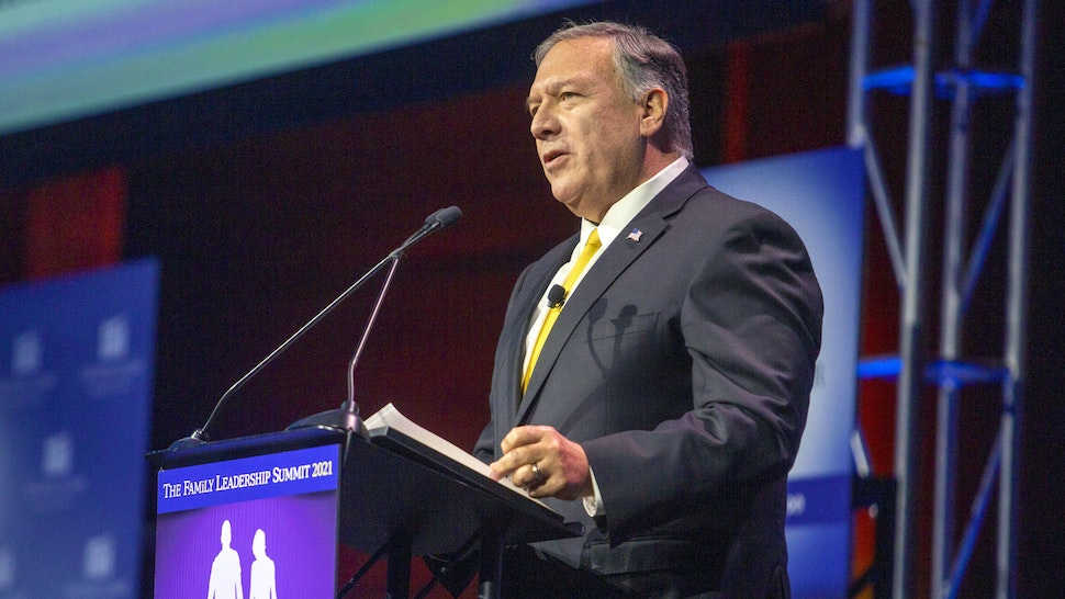 Michael Pompeo, former U.S. secretary of state, speaks during the FAMiLY Leader summit in Des Moines, Iowa, U.S., on Friday, July 16, 2021. Former Vice President Mike Pence is headlining the evangelical group's 10th annual leadership summit.