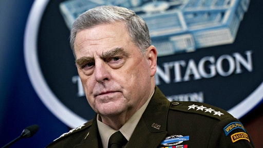 Mark Milley, chairman of the joint chiefs of staff, pauses while speaking during a news conference at the Pentagon in Arlington, Virginia, U.S., on Wednesday, Sept. 1, 2021. President Biden yesterday declared an end to two decades of U.S. military operations in Afghanistan, offering an impassioned defense of his withdrawal and rejecting criticism that it was mishandled.