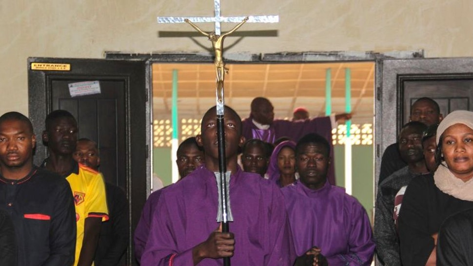 Catholics take part in the Ash Wednesday celebration at the St. Patrick cathedral in Maiduguri on February 26, 2020.