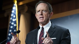 UNITED STATES - AUGUST 9: Sen. Pat Toomey, R-Pa., conducts a news conference on a bipartisan agreement to fix the digital asset reporting requirements in the infrastructure bill, in the U.S. Capitol on Monday, August 9, 2021. Sen. Cynthia Lummis, R-Wyo., also attended.
