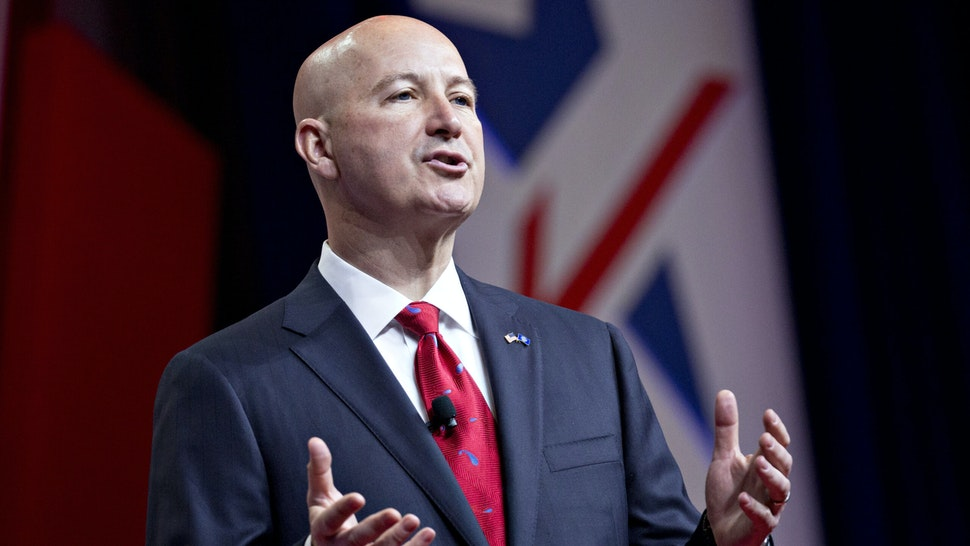 Pete Ricketts, governor of Nebraska, speaks during the SelectUSA Investment Summit in National Harbor, Maryland, U.S., on Thursday, June 21, 2018. The investment summit is dedicated to promoting foreign direct investment (FDI) in the United States and brings together companies from all over the world to facilitate business investment in America.