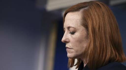 WASHINGTON, DC - SEPTEMBER 24: White House Press Secretary Jen Psaki listens to a question at a press briefing in the White House on September 24, 2021 in Washington, DC. Psaki spoke on a range of topics including the Covid-19 vaccines and the U.S and Mexico border.