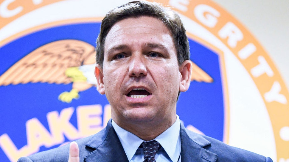 LAKELAND, FLORIDA, UNITED STATES - 2021/09/07: Florida Governor Ron DeSantis speaks at a press conference at the Lakeland, Florida Police Department to announce a new proposal that would provide $5,000 signing bonuses to those who sign on to be law enforcement officers from within the state of Florida, and those who come from out-of-state. The plan would also pay up to $1,000 for training and relocation, and would set up a scholarship to pay the cost for the law enforcement academy. (Photo by Paul Hennessy/SOPA Images/LightRocket via Getty Images)