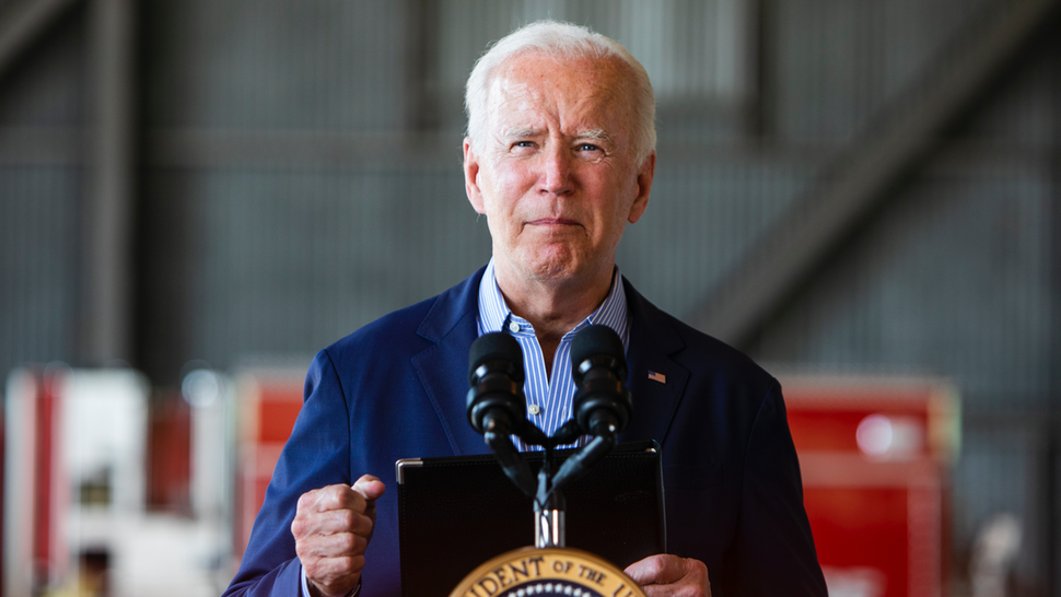 SACRAMENTO, CA - SEPTEMBER 13: President Joe Biden speaks a press conference held at Mather airport in Sacramento, Calif., on Monday, September 13, 2021. The President visited California to survey wildfire damage in response to recent wildfires.