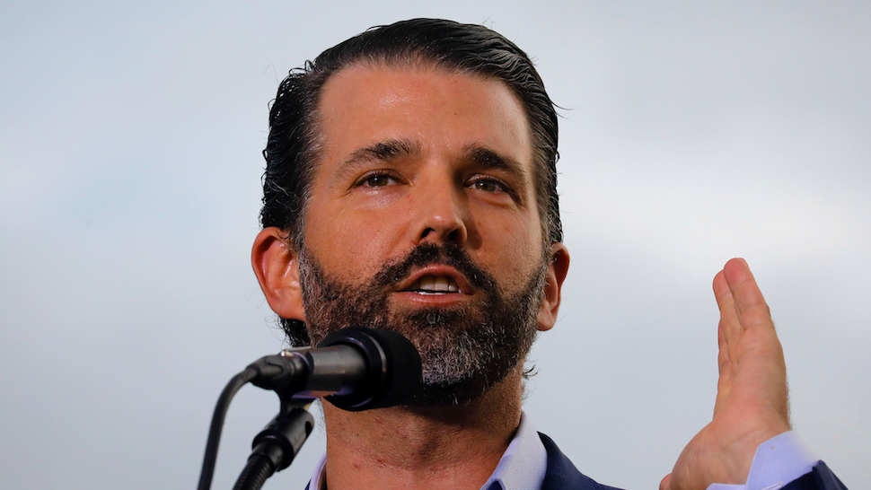 SARASOTA, FL - JULY 03: Donald J. Trump Jr. speaks during a rally on July 3, 2021 in Sarasota, Florida. Co-sponsored by the Republican Party of Florida, the rally marks Trump's further support of the MAGA agenda and accomplishments of his administration.