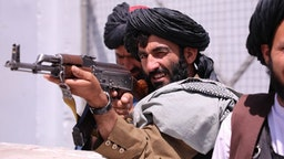 KABUL, AFGHANISTAN - SEPTEMBER 02: Taliban members set checkpoints around Hamid Karzai International Airport in Afghan capital Kabul on September 02, 2021.