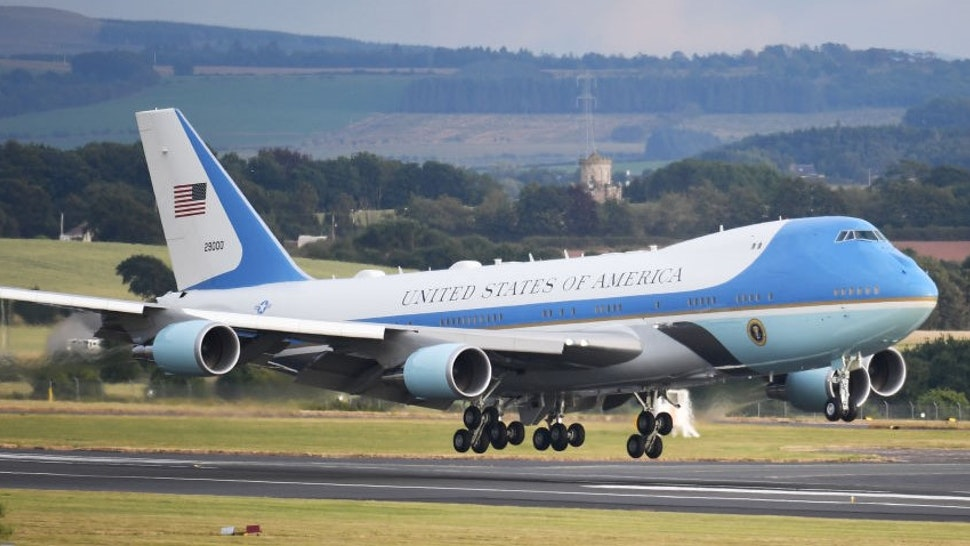 GLASGOW, SCOTLAND - JULY 13: Air Force One carrying the President of the United States, Donald Trump and First Lady, Melania Trump touches down at Glasgow Prestwick Airport on July 13, 2018 in Glasgow, Scotland. (Photo by