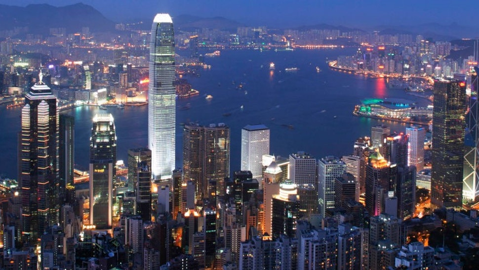 Hong Kong, China, central district with the 420 meters IFC2 tower, International Finance Center. (Photo by