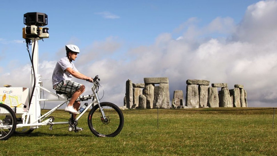AMESBURY, ENGLAND - JULY 13: (UK TABLOIDS OUT) Google launch the Street Trike with VisitBritain at Stonehenge near Amesbury, on July 13, 2009 in Wiltshire, England. The British public voted for the top 6 tourist attractions they wished to be photographed by the Street View Trike. The images collected will later appear in Street View on Google Maps. (Photo by
