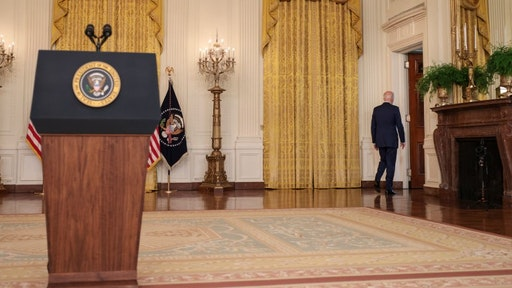 WASHINGTON, DC - SEPTEMBER 16: U.S President Joe Biden departs after speaking during an event in the East Room of the White House September 16, 2021 in Washington, DC. Biden spoke about the U.S. economy during the event. (Photo by